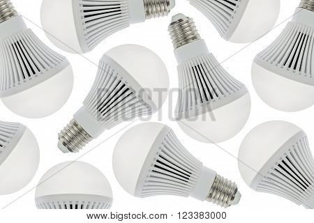 LED light bulbs for background, Isolated on white background.