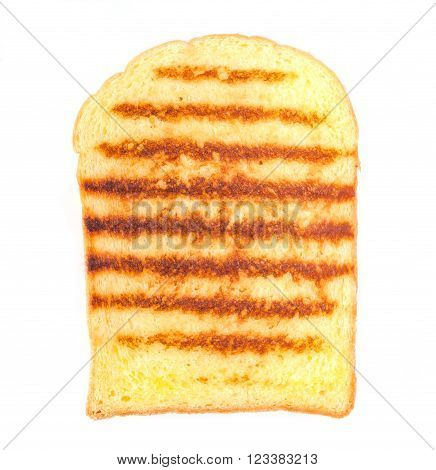Closeup butter toast with grilled mark isolated on white background.