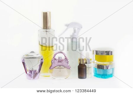 Isolated Ground Of Beauty Bottles And Beauty Creams