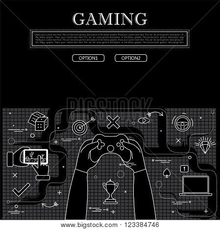 Line Drawing Of Concept Of Gaming Vector Graphic In Black And White
