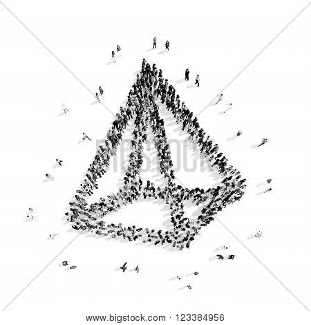 A group of people in the shape of a pyramid, a flash mob.3D illustration.black and white