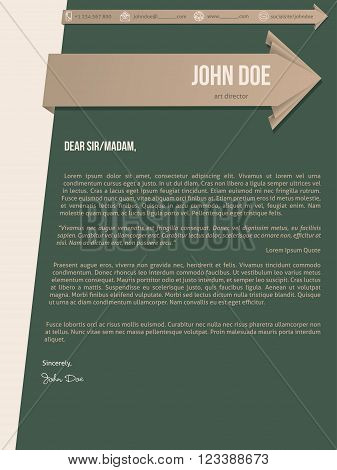 Modern cover letter resume cv template with brown arrow ribbons