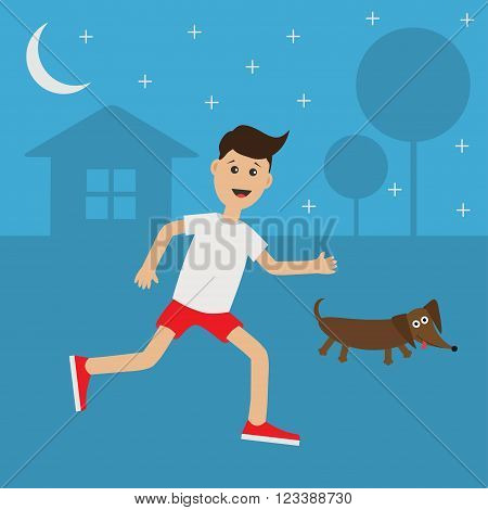 Funny cartoon running guy Dachshund dog. Night summer time. House tree silhouette Stars shining Run boy Jogging man Runner outside Fitness cardio workout Running male character Flat Vector