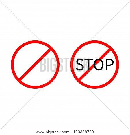 Prohibition no symbol Red round stop warning sign set Template Isolated on white background. Flat design Vector illustration