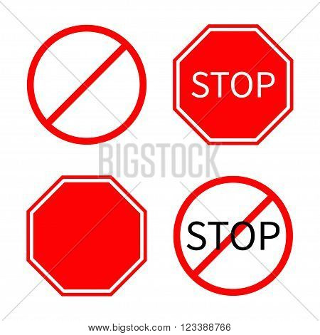 Prohibition no symbol Red round stop warning road sign set Template Isolated on white background. Flat design Vector illustration