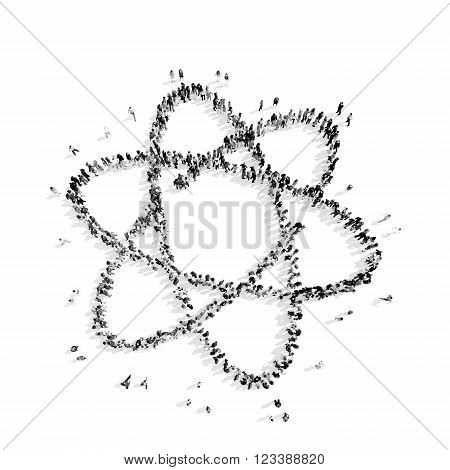 A group of people in the shape of globe, a flash mob.3D illustration.black and white