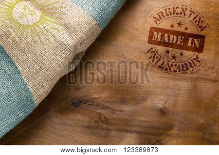 Made in Argentina. The national flag of Argentina stylized sackcloth.