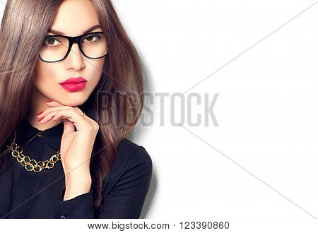Beauty sexy fashion model woman portrait wearing glasses, isolated on white background. Beautiful young brunette girl with trendy accessories posing in studio
