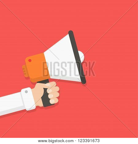 Loudspeaker in a man's hand. Alert announcement warning advertising concept. Talking shouting in loudspeaker. Loudspeaker and hand in flat style. Loudspeaker with hand vector illustration.