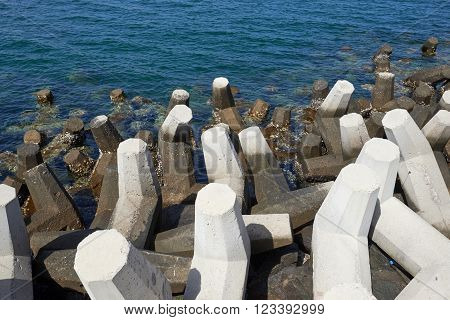 Concrete tetrapods used for protection on the coast against erosion
