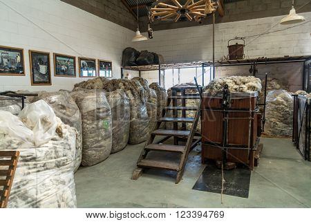 Puerto Madryn Argentina - December 13 2012: Interior of the Raw sheep Wool Warehouse on the sheep farm near Puerto Madryn Patagonia Argentina.