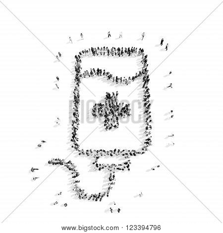 A group of people in the shape of a dropper, medicine, flash mob.3D illustration.black and white
