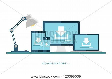 Desktop computer, laptop, tablet and smartphone with downloading screen. Downloading process. Install new software, operating system. Vector illustration.
