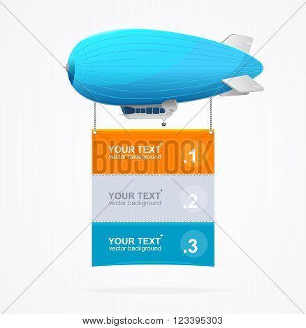 Blue Dirigible Menu Concept for Your Business. Vector illustration