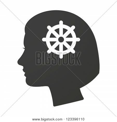 Isoalted Female Head Icon With A Dharma Chakra Sign