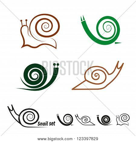 Snails set. Collection of vector icons isolated on white background.