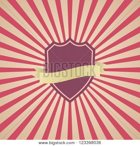 Retro vintage badge with red sunrays background, stock vector