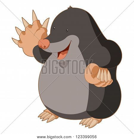 Vector image of the Cartoon smiling Mole