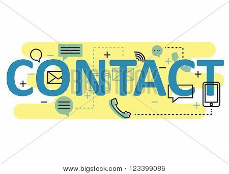 Contact concept flat line design with icons and elements. Modern contact concept vectors collection. Thin line flat design banners for website and mobile website easy to use and highly customizable. Contact concept lettering