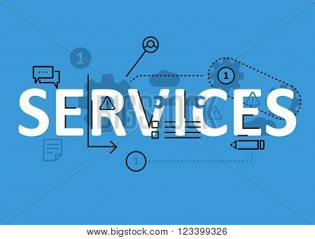 Services concept flat line design with icons and elements. Modern services concept vectors collection. Thin line flat design banners for website and mobile website easy to use and highly customizable. Services concept lettering