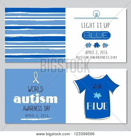 Vector set of horizontal banner templates. Lettering Light it up blue for World Autism Awareness day. For poster, cards, brochures, tags and labels, souvenirs, invitations, calendar designs.