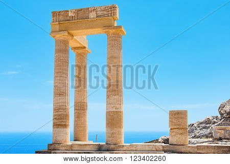 Ancient column in Acropolis of Lindos. Rhodes Dodecanese Islands Greece Europe