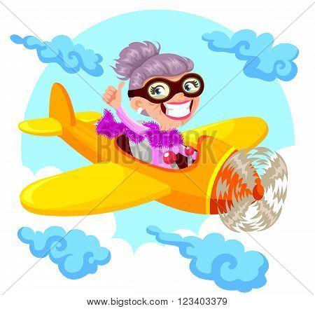 cartoon happy old lady flying an airplane