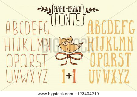 Two hand drawn sketch alphabets. Handwritten. Letters uppercase