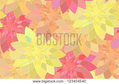 Seamless pattern with red yellow and orange floral guilloche. Seamless guilloche pattern. Seamless floral pattern. Red seamless background. Guilloche design line art pattern. Vector illustration