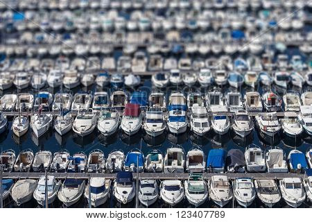 Boats lined up on the dock of the old port of Marseille France