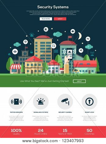 Security and alarm system services web site one page website template layout with flat header, banner, icons and other flat design web elements