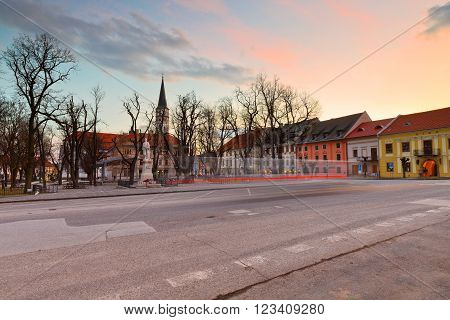LEVOCA, SLOVAKIA - MARCH 18, 2016: Main square of UNESCO listed medieval town of Levoca in eastern Slovakia, on March 18, 2016.
