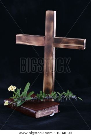 Cross And Bible On Black