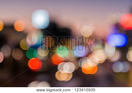 City Blurred In Twilight Time For Background.