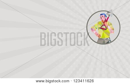 Business card showing Low polygon style illustration of male gardener landscaper horticulturist holding shovel spade on shoulder hand on hips facing front done set inside circle.