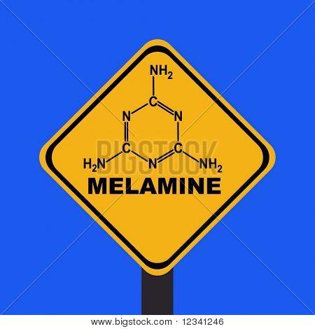 Melamine warning sign with chemical formula illustration