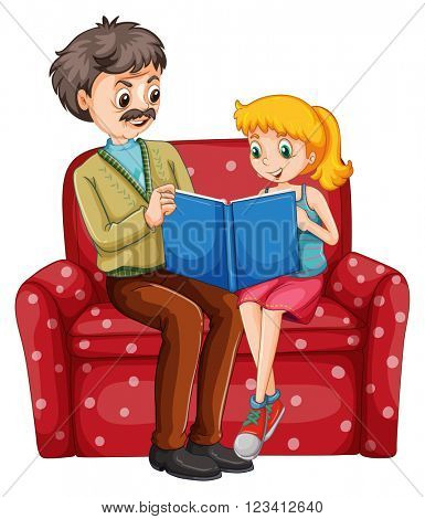 Grandfather and kid reading book together illustration