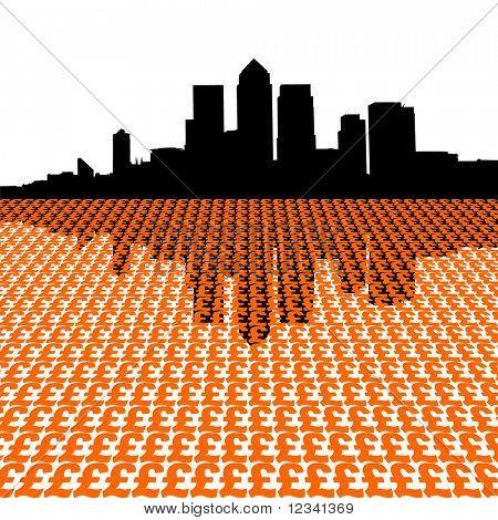 London docklands skyline with pound symbols illustration