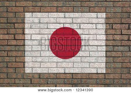 Japanese flag painted on brick wall illustration