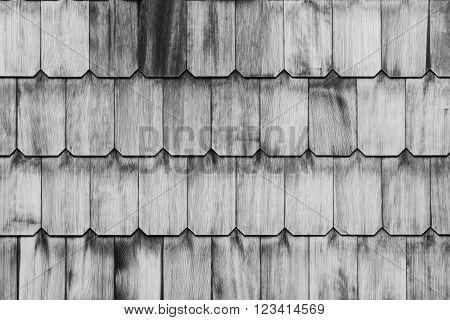 Pattern Of Overlap Shingle White Wood Texture.