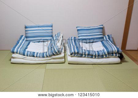 Twin mattress on Tatami mat Japanese style.
