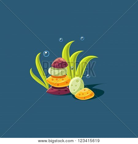 Seagrass And Rock Pile Cute Cartoon Style Vector Illustration On Dark Blue Background