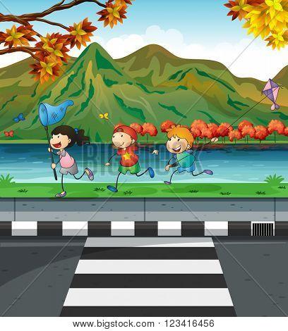 Three kids playing on the pavement illustration