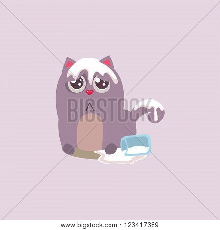 Cat Spilling The Milk All Over Itself Adorable Emoji Flat Vector Caroon Style Isolated Icon