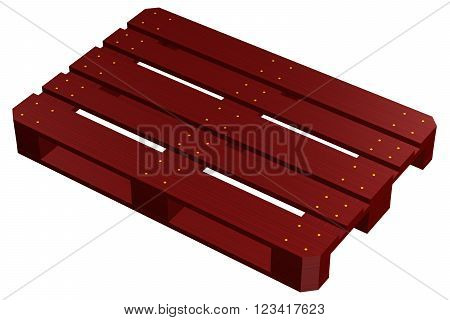 Mahogany pallet isolated on white background. 3D render.