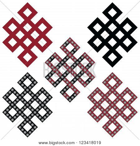Traditional geometric Oriental Tibetan symmetrical Endless, Eternity Knot zen Auspicious Symbols in black, white and red with diamonds element in tattoo style