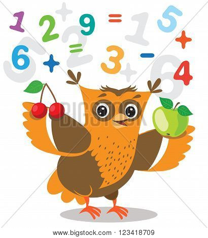 Funny Owl Learn To Count And Numerals On A White Background. Cartoon Vector Illustrations. Owl Picture. Owl Memes. Owl Jokes. Owl Sayings. Owl Champion. Owl Gifts. Owl Toy. Owl Sticker. Owl Costume.