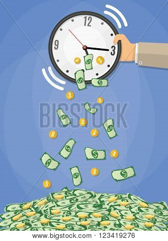 money bills and golden coins falling from the clock which shakes the hand of a businessman. time is money concept, time management. vector illustration in flat design on blue background