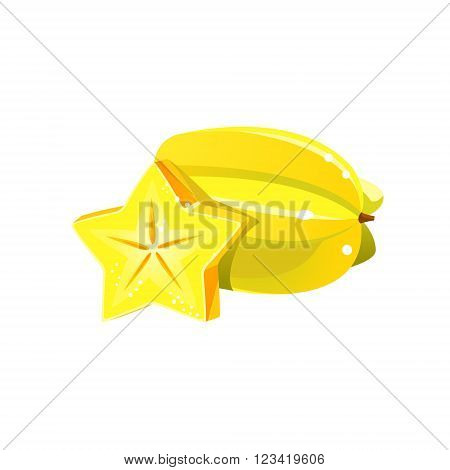 Carambole Flat Vector Sticker Simplified Design Isolated On White Backgroung