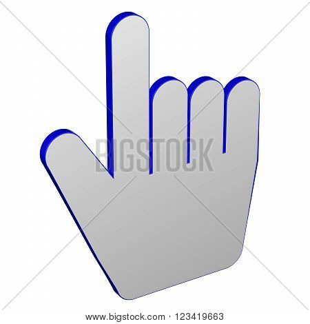 Hand cursor isolated on white background. 3D render.